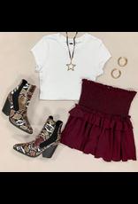 Skirts 62 Hello Cutie Burgundy Smocked Skirt