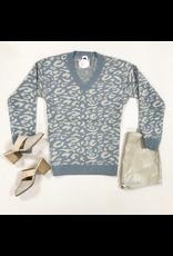 Tops 66 Get Spotted Grey/Beige Leopard Sweater