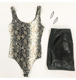 Tops 66 Snake Print Sleeveless Bodysuit