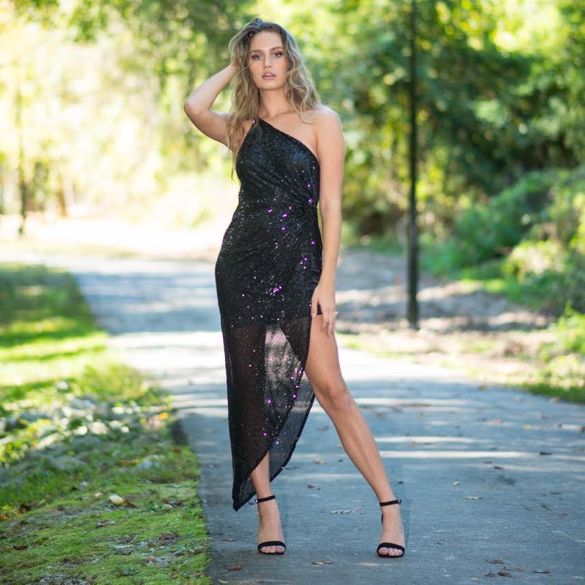 Dresses 22 Dazzle Dream Black Sequin One Shoulder Dress