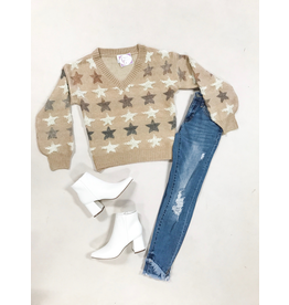 Tops 66 Soft Neutral Star Sweater