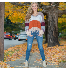 Tops 66 Hello Fall Rust/Lavender Distressed Sweater