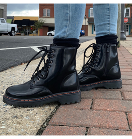Shoes 54 Shiny Black Lace Up Boot