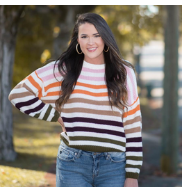 Tops 66 All The Fall Vibes Stripe Ivory/Multi Sweater