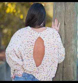 Tops 66 Confetti Open Back Sweater