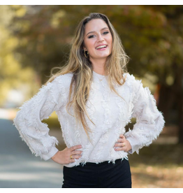 Tops 66 Fuzzy Fringy Ivory Sweater