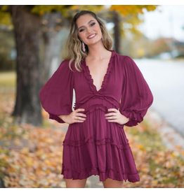 Dresses 22 Free To Be Me Burgundy Ruffle and Open Back Dress