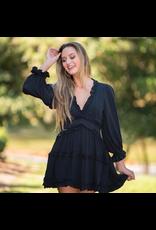 Dresses 22 Free To Be Me Black Ruffle Open Back Dress