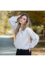 Tops 66 Fuzzy Fringy Ivory Sweater