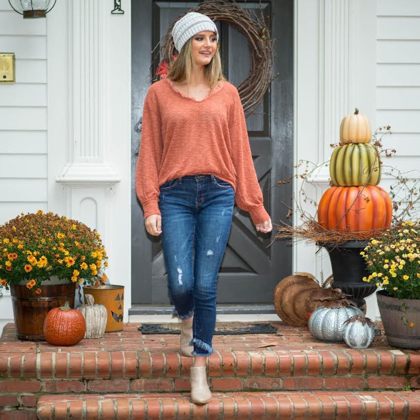 Tops 66 Fall In Love Rust Sweater