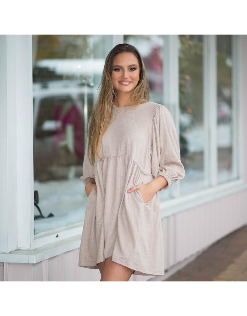 Dresses 22 Let's Taupe About It Baby Doll Dress