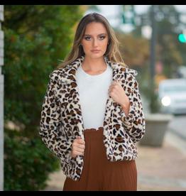Outerwear Fuzzy Ivory Leopard Coat