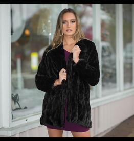 Outerwear Fuzzy Fur Black Coat