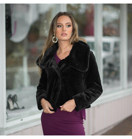 Outerwear Black Fur Dress Coat