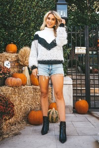 Tops 66 Fuzzy Colorblock Sweater
