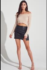 Skirts 62 Black Leather Skirt w/Slit