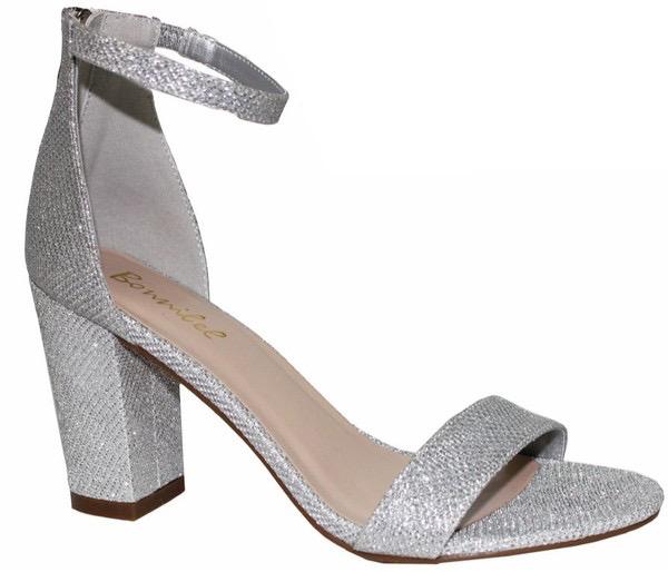 Shoes 54 Sparkle Party Silver Block Heels