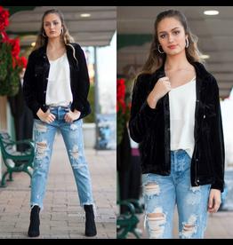 Outerwear Black Velvet Coat