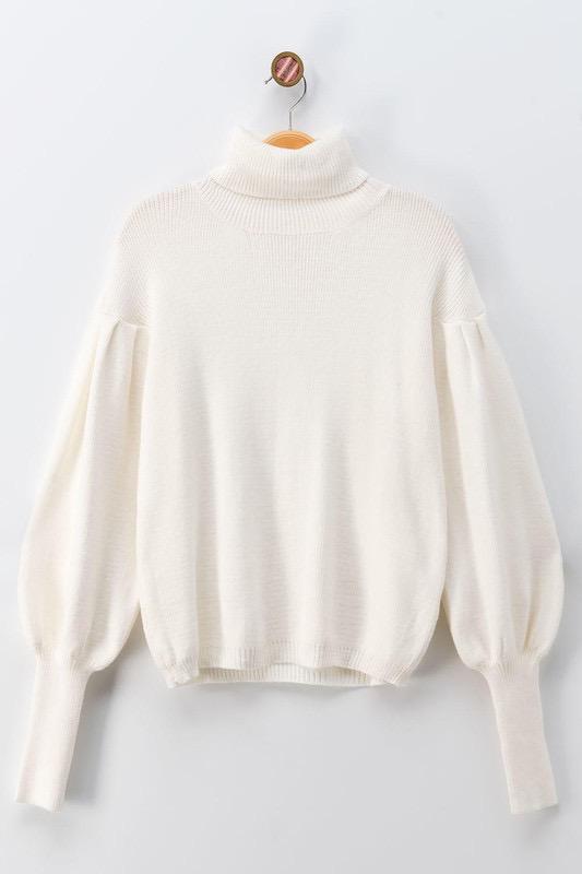 Tops 66 Turtle Neck Balloon Sleeve Sweater