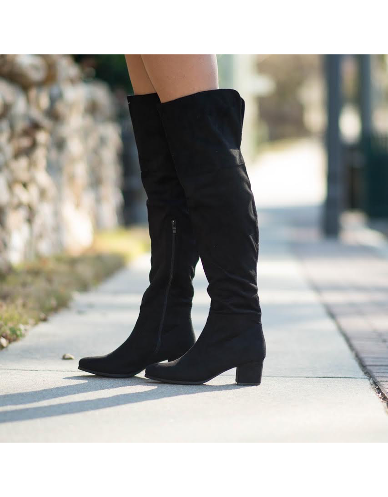 Shoes 54 Over The Knee Black Suede Tall Boots
