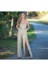 Jumpsuit Bright Up Your Night Gold Shimmering Jumpsuit