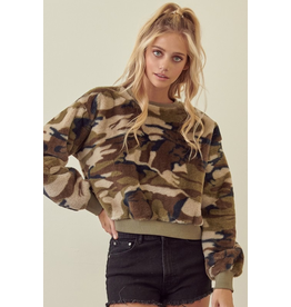 Tops 66 Fuzzy Camo Sweater
