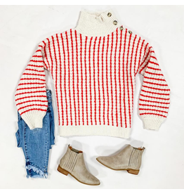 Tops 66 Fuzzy Candy Cane Stripe Button Sweater