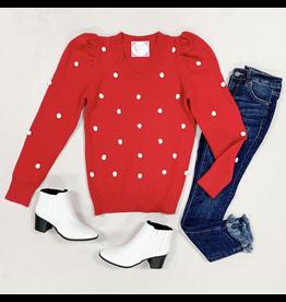 Tops 66 Pom Pom Red Sweaters