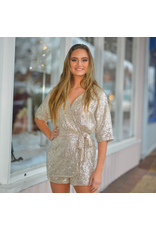 Rompers 48 Golden Moment Sequin Wrap Romper