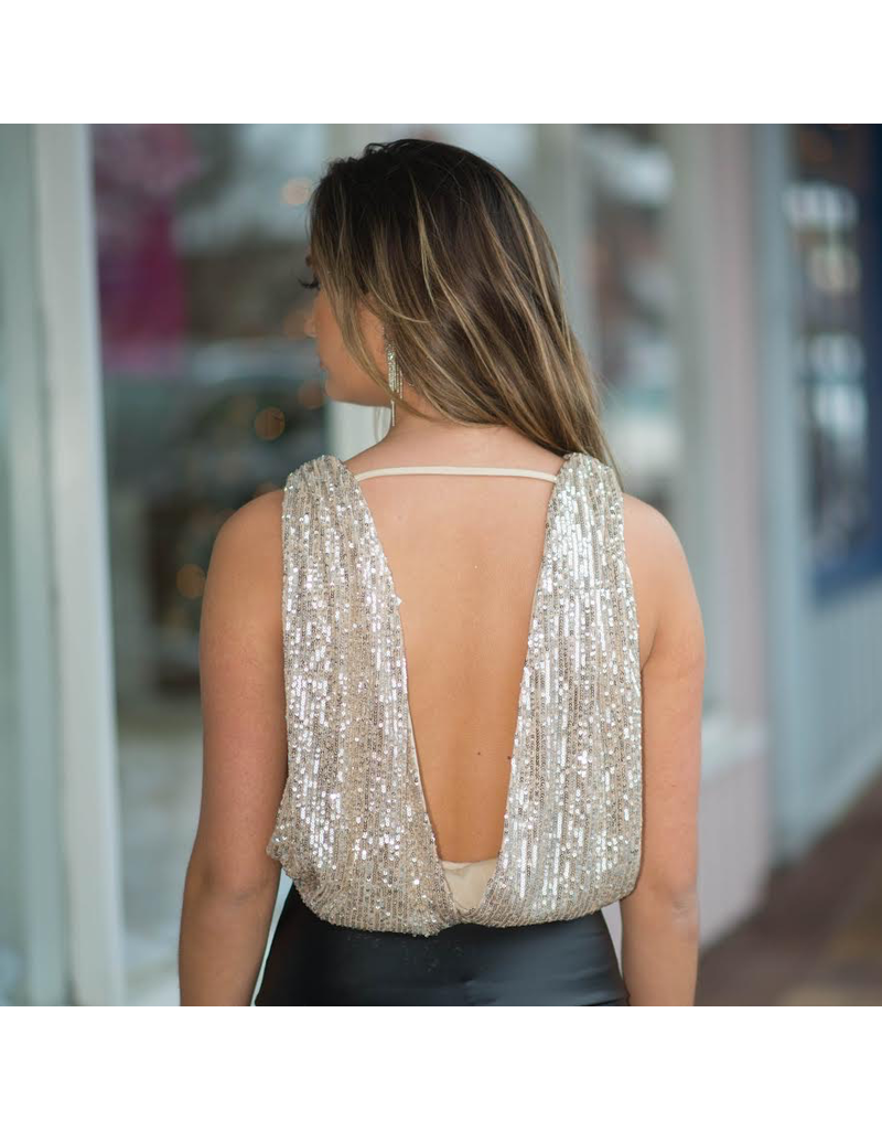 Tops 66 Party On Gold Open Back Sequin Top