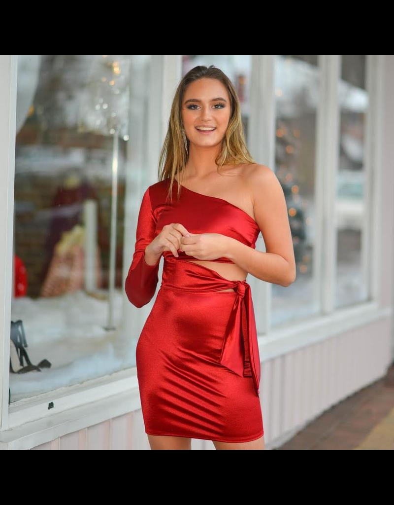 Dresses 22 Wrap It Up Red Satin Dress