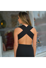 Jumpsuit Elegant Black Cross Back Jumpsuit