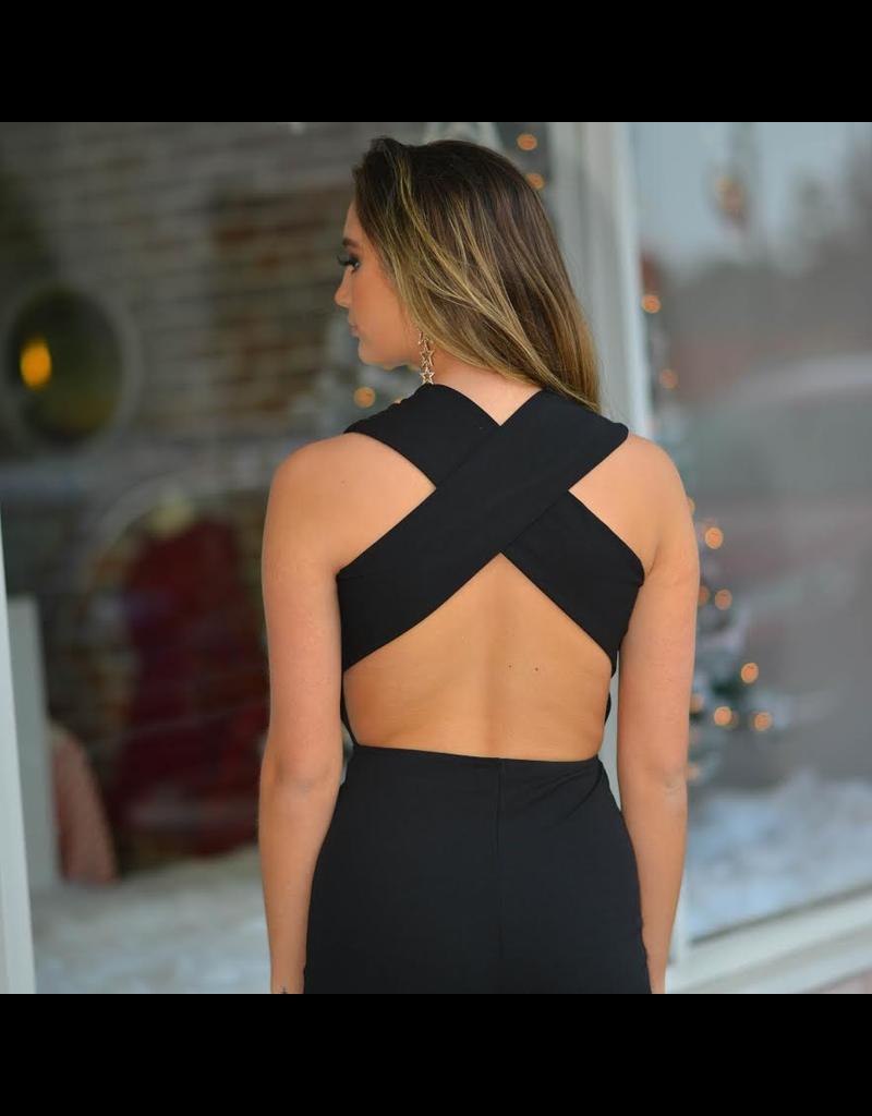 Jumpsuit Elegant Black Cross Back Jumpsuit