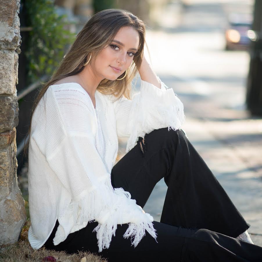Tops 66 Fun Fringe Sleeve Ivory Sweater