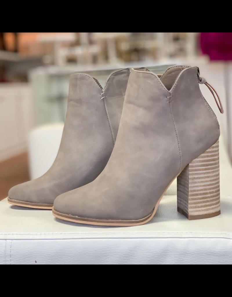 Shoes 54 New Beginnings Dark Taupe Wooden Heel Bootie