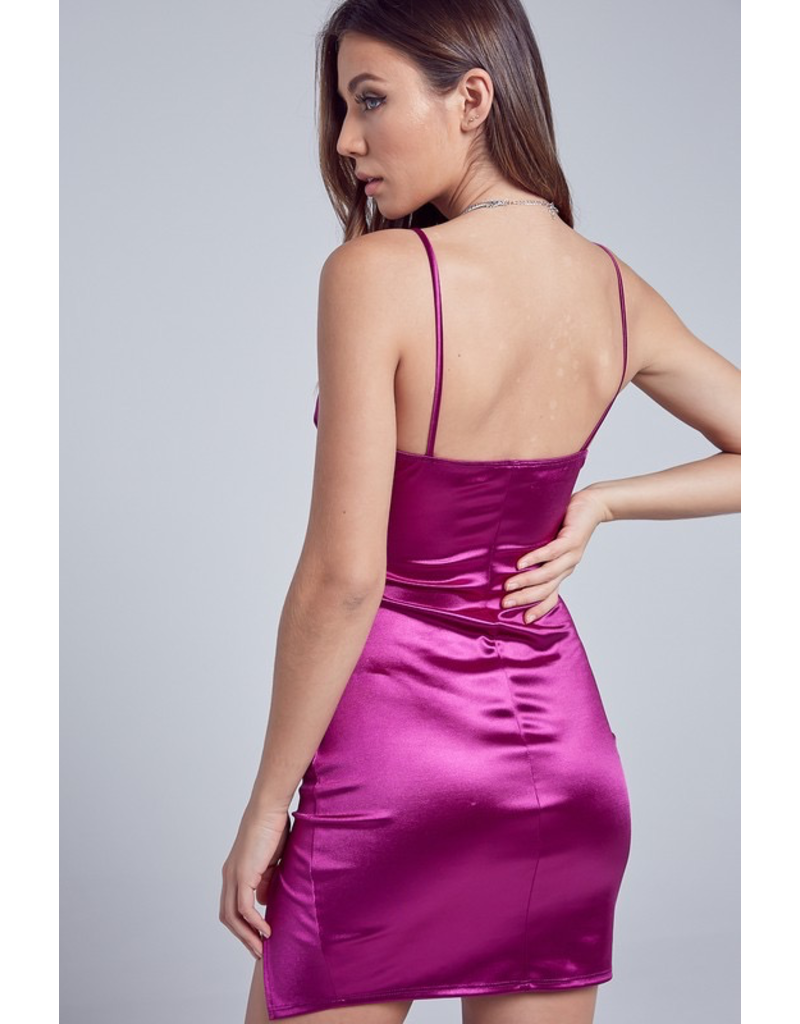 Dresses 22 Satin Semi Formal Magenta Dress