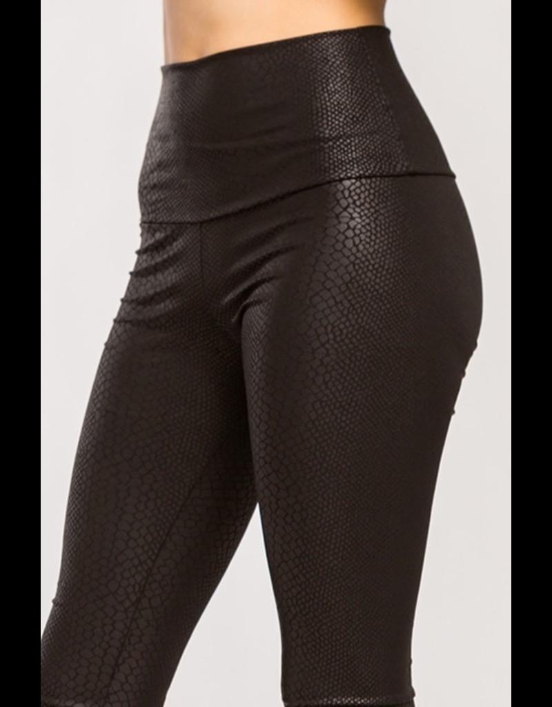 Pants 46 Snake Texture Black Leather Leggings