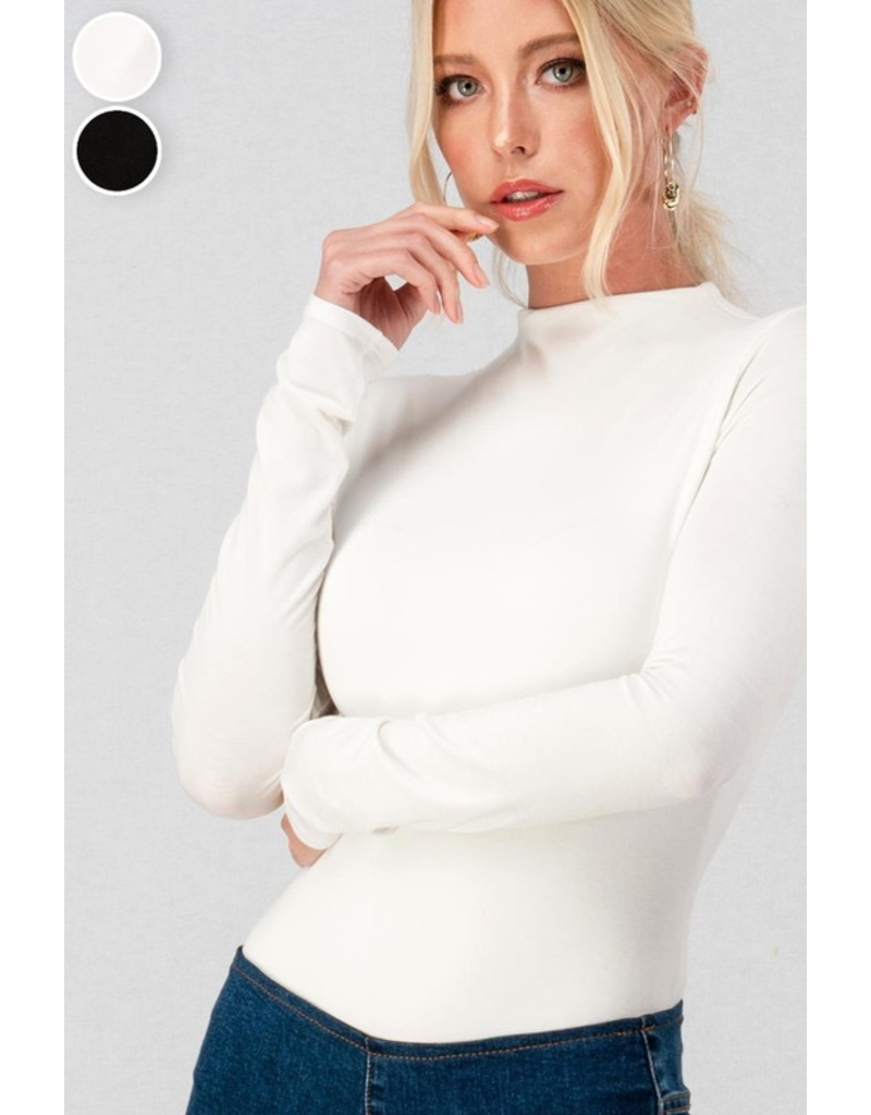 Tops 66 Long Sleeve Mock Neck Ivory Bodysuit