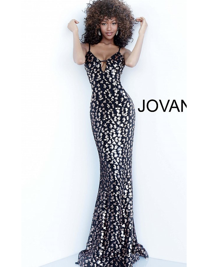 Formalwear Jovani Leopard Black Sequin Formal Dress