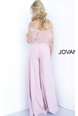 Jumpsuit Jovani Ruffle My Feathers Blush Jumpsuit