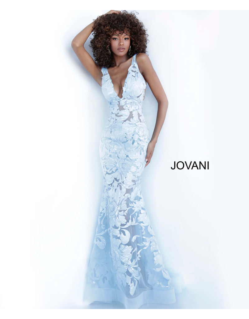 Dresses 22 Jovani Wish Come True Blue Floral Formal Dress