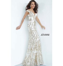 Dresses 22 Jovani My Dream White and Gold Formal Dress