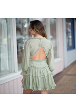 Dresses 22 Pretty Sage Tiered and Open Back Dress