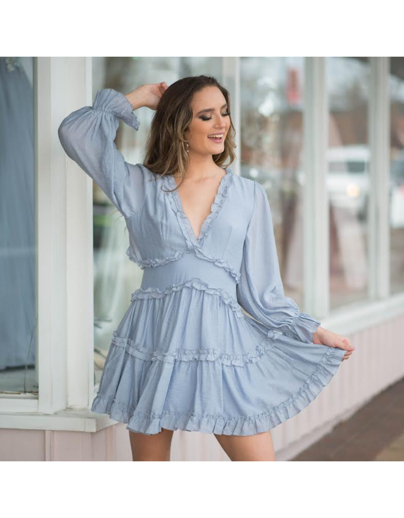 Default Pretty Blue Ruffle and Open Back Dress