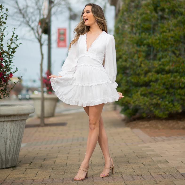 Dresses 22 Pretty White Ruffle and Open Back Dress