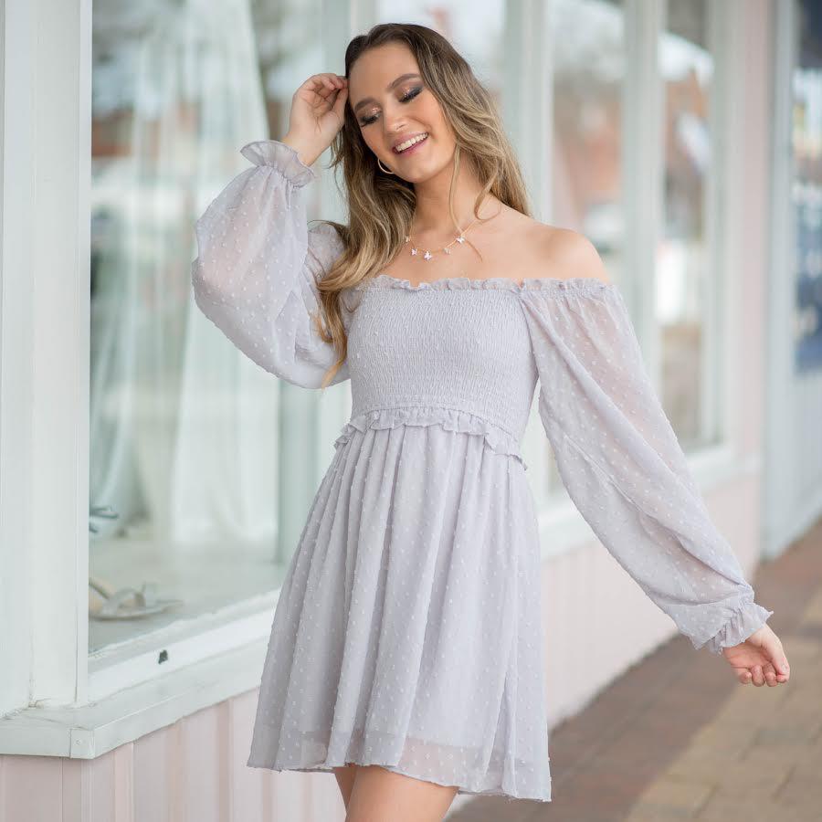 Dresses 22 Swiss Dot and Smocked Lavender Grey Dress