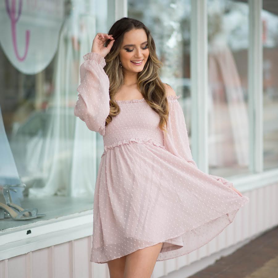 Dresses 22 Swiss Dot and Smocked Blush Dress
