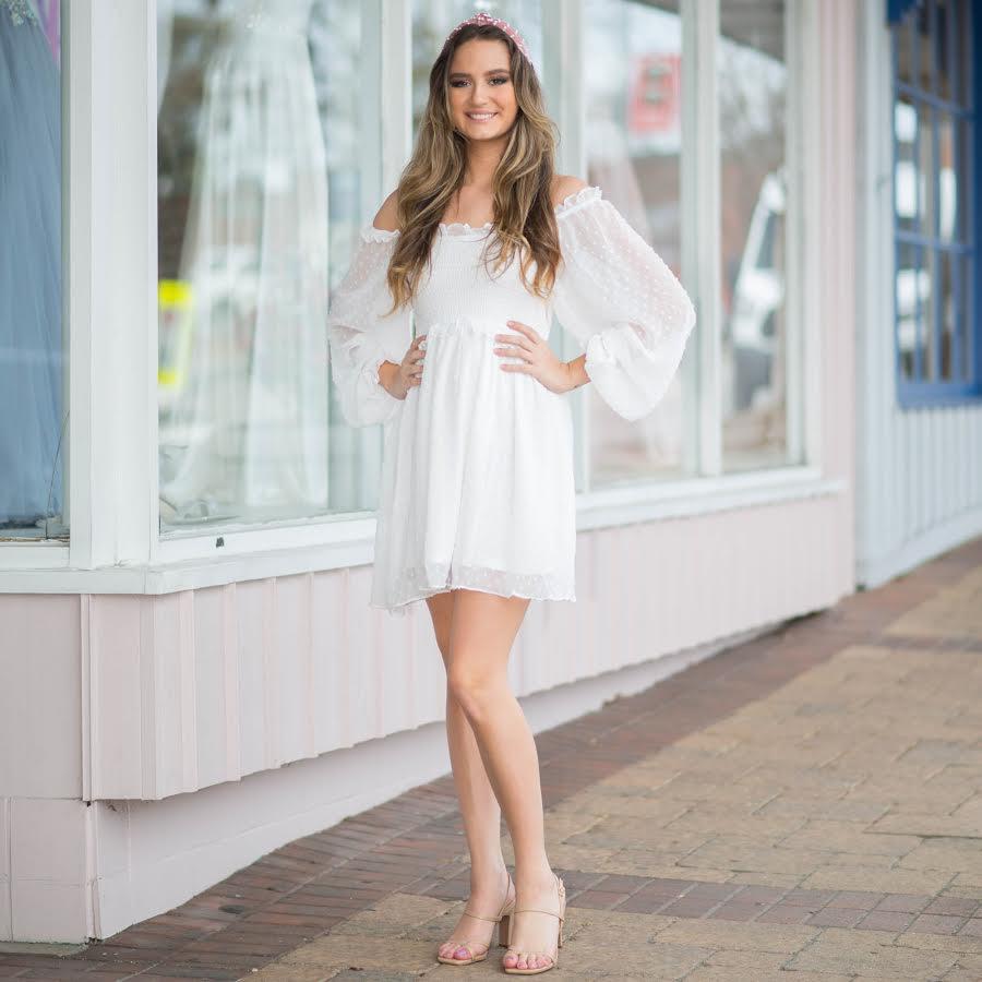 Dresses 22 Swiss Dot And Smocked White Dress