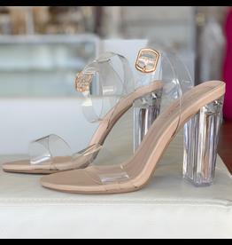 Shoes 54 Dreams Come True Nude Lucite Heels