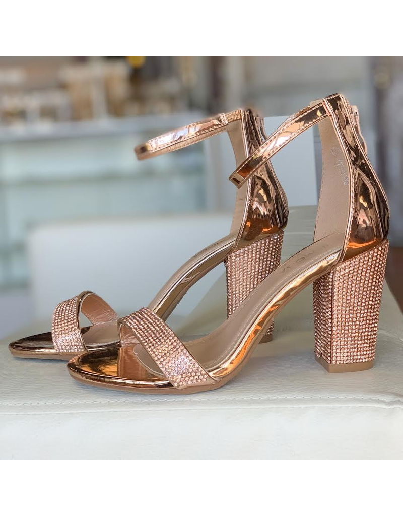 Shoes 54 Night To Remember Rose Gold Embellished Heel